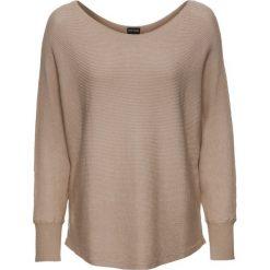 """Sweter w prążek """"oversize"""" bonprix beżowy melanż. Brązowe swetry oversize damskie bonprix. Za 79,99 zł."""