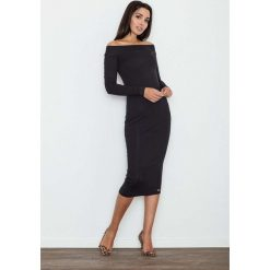 Sukienki hiszpanki: Czarna Ołówkowa Sukienka za Kolano z Szerokim Dekoltem