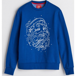 Bluza z motywem świątecznym - Niebieski. Niebieskie bluzy męskie rozpinane Reserved, l. Za 79,99 zł.