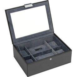 Pudełko na zegarki ze szklaną pokrywką Stackers czarno-szare. Czarne zegarki damskie Stackers. Za 294,00 zł.