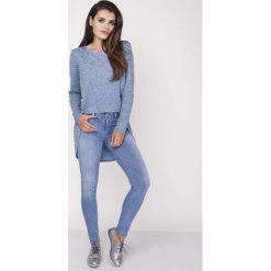 Bluzki, topy, tuniki: Niebieska Codzienna Melanżowa Bluzka Asymetryczna