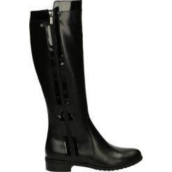 Kozaki ocieplane - 350354 PEL NE. Czarne buty zimowe damskie marki Kazar, ze skóry, na wysokim obcasie. Za 249,00 zł.