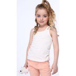 T-shirty dziewczęce: Koszulka dziewczęca na podwójnych ramiączkach kremowa NDZ7772