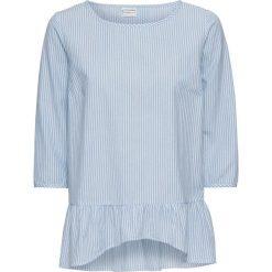 Bluzka bonprix biało-jasnoniebieski w paski. Białe bluzki asymetryczne marki bonprix, w paski, z asymetrycznym kołnierzem. Za 84,99 zł.