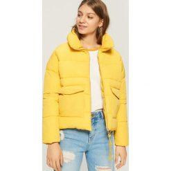 Bomberki damskie: Pikowana kurtka z podwójnymi kieszeniami - Żółty