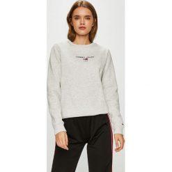 Tommy Jeans - Bluza. Szare bluzy rozpinane damskie Tommy Jeans, l, z nadrukiem, z bawełny, bez kaptura. Za 299,90 zł.