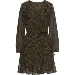 Sukienka kopertowa z falbanami bonprix ciemnooliwkowo-czarny w kropki. Zielone sukienki z falbanami marki bonprix, w kropki, z kopertowym dekoltem, kopertowe. Za 109,99 zł.