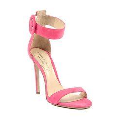 Sandały damskie: Skórzane sandały w kolorze różowym