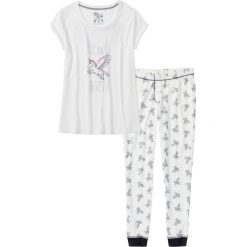 """Piżamy damskie: Piżama """"Jednorożec"""" bonprix biel wełny z nadrukiem"""