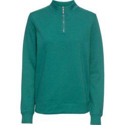 Bluza z zamkiem, długi rękaw bonprix dymny zielony. Zielone bluzy rozpinane damskie bonprix, z długim rękawem, długie. Za 54,99 zł.