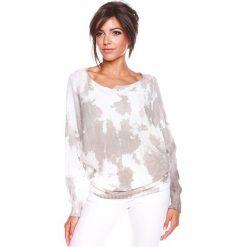 """Sweter """"Charlie"""" w kolorze biało-szarobrązowym. Swetry klasyczne damskie 100% Maille, s, z dekoltem w łódkę. W wyprzedaży za 129,95 zł."""
