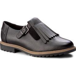 Półbuty CLARKS - Griffin Mia 261156344 Black Leather. Czarne półbuty damskie skórzane marki Clarks, na obcasie. W wyprzedaży za 209,00 zł.