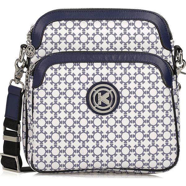 4cb9864ec2158 Biało granatowa torebka damska - Niebieskie torebki klasyczne damskie Kazar,  w paski, na ramię, duże, bez dodatków. Za 499,00 zł.