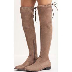 Khaki Kozaki Espresso. Brązowe buty zimowe damskie marki Born2be, z okrągłym noskiem, za kolano, na płaskiej podeszwie. Za 94,99 zł.