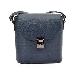 Torebki klasyczne damskie: Skórzana torebka w kolorze niebieskim – (S)21 x (W)22 x (G)7,5 cm