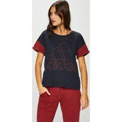 Adidas Performance - Top. Brązowe bluzy z nadrukiem damskie marki adidas Performance, l, z bawełny, z krótkim rękawem, krótkie. Za 129,90 zł.