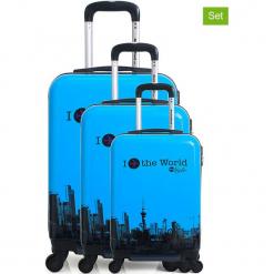 """Walizki (3 szt.) """"Soho"""" w kolorze niebieskim. Niebieskie walizki American Travel, z materiału. W wyprzedaży za 608,95 zł."""