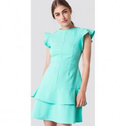 Trendyol Sukienka mini z falbankami na ramionach - Turquoise. Szare sukienki mini marki Trendyol, na co dzień, z elastanu, casualowe, dopasowane. W wyprzedaży za 56,78 zł.