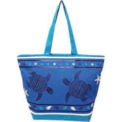 """Torba plażowa """"Bohème"""" w kolorze niebieskim - 35 x 58 x 23 cm. Niebieskie torby plażowe Le Comptoir de la Plage, z tworzywa sztucznego. W wyprzedaży za 38,95 zł."""