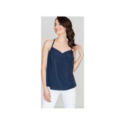Bluzka K392 Granat. Niebieskie bluzki damskie Lenitif, m, z falbankami. Za 99,00 zł.