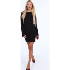 Sukienka z rozkloszowanymi rękawami czarna 18320. Czarne sukienki marki Fasardi, m, z dresówki. Za 79,00 zł.