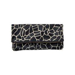Kopertówki damskie: Skórzana kopertówka w kolorze czarno-białym – (S)26 x (W)12 x (G)2 cm