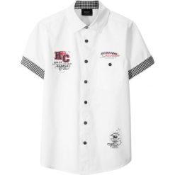 Koszula z krótkim rękawem bonprix biały. Białe bluzki dziewczęce w paski marki FOUGANZA, z bawełny. Za 54,99 zł.
