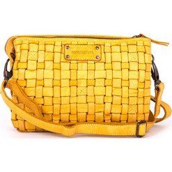 Torebki klasyczne damskie: Skórzana torebka w kolorze żółtym – 25 x 17 x 8 cm