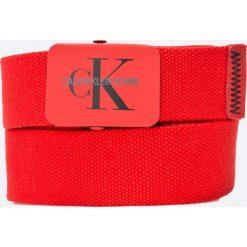 Calvin Klein Jeans - Pasek. Czerwone paski męskie Calvin Klein Jeans, w paski, z jeansu. W wyprzedaży za 139,90 zł.