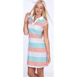 Sukienka polo w kolorowe paski / pomarańcz 7658. Szare sukienki marki Fasardi, l, w kolorowe wzory, polo, oversize. Za 59,00 zł.