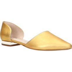 Baleriny LANZA. Żółte baleriny damskie marki Kazar, ze skóry, na wysokim obcasie, na obcasie. Za 149,90 zł.