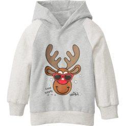 Bożonarodzeniowa bluza z kapturem bonprix naturalny melanż - szary melanż z nadrukiem. Białe bluzy chłopięce rozpinane bonprix, melanż, z kapturem. Za 37,99 zł.
