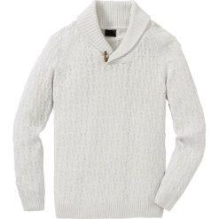 Sweter w warkocze z bawełny z recyclingu bonprix biel wełny. Białe swetry klasyczne męskie bonprix, l, z bawełny. Za 109,99 zł.