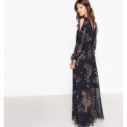 Długie sukienki: Sukienka wycięte plecy, rozcięte rękawy z falbanami
