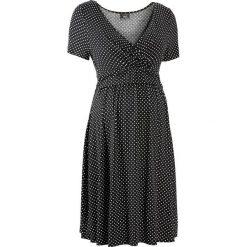 Sukienka ciążowa i do karmienia, shirtowa, krótki rękaw bonprix czarno-biały w kropki. Czarne sukienki hiszpanki bonprix, w kropki, mini. Za 54,99 zł.