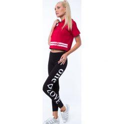 Legginsy we wzory: Legginsy z napisem na nogawce czarne 7899