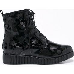 Caprice - Botki. Czarne buty zimowe damskie Caprice, z materiału, z okrągłym noskiem, na obcasie, na sznurówki. W wyprzedaży za 179,90 zł.