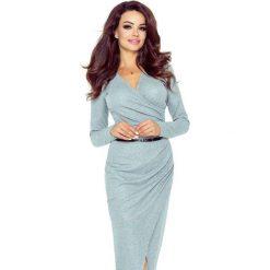 MARTYNA sukienka z asymetrycznym drapowaniem SZARY ŚREDNI BŁYSK. Szare długie sukienki Bergamo, eleganckie, z asymetrycznym kołnierzem, asymetryczne. Za 234,99 zł.