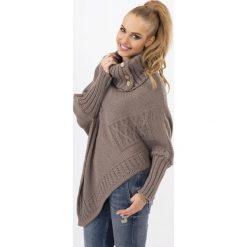 Swetry damskie: Cappuccino Sweter-Ponczo z Golfem z Ozdobnymi Guzikami