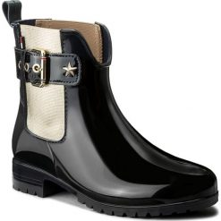 Kalosze TOMMY HILFIGER - Oxley 14V2 FW0FW02171  Midnight 403. Czarne buty zimowe damskie marki TOMMY HILFIGER, z materiału, z okrągłym noskiem, na obcasie. Za 399,00 zł.