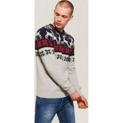 Sweter ze skandynawskim motywem - Szary. Szare swetry klasyczne męskie House, l. Za 99,99 zł.