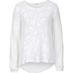 Bluzki asymetryczne: Prześwitująca bluzka koronkowa bonprix biały