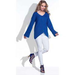 Swetry oversize damskie: Chabrowy Sweter w Serek z Rozkloszowanymi Rękawami