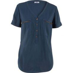 Bluzka z wiskozy, krótki rękaw bonprix ciemnoniebieski. Niebieskie bluzki z odkrytymi ramionami bonprix, z wiskozy, z krótkim rękawem. Za 59,99 zł.