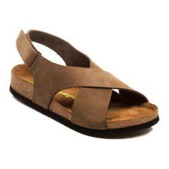 Sandały damskie: Skórzane sandały w kolorze piaskowym