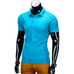 KOSZULKA MĘSKA POLO BEZ NADRUKU S715 - TURKUSOWA. Szare koszulki polo marki Lacoste, z gumy, na sznurówki, thinsulate. Za 39,00 zł.