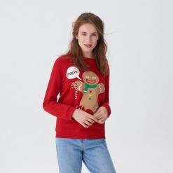 Bluza ze świąteczną aplikacją - Czerwony. Czerwone bluzy damskie marki House, l, z aplikacjami. Za 69,99 zł.