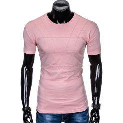 T-shirty męskie: T-SHIRT MĘSKI BEZ NADRUKU S962 - PUDROWY RÓŻ