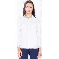 Paski damskie: Biało Niebieska Klasyczna  Koszula z Wykończeniami w Paski