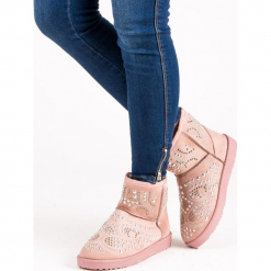 MODNE RÓŻOWE ŚNIEGOWCE. Białe buty zimowe damskie marki Merg. Za 76,90 zł.